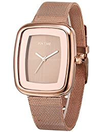 Women's Men's Square Case Analog Display Quartz Rose Gold Stainless Steel Mesh Bracelet Luxury Watch