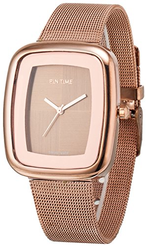 Women's Men's Square Case Analog Display Quartz Rose Gold Stainless Steel Mesh Bracelet Luxury Watch