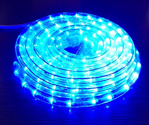 Izzy Creation 24FT Blue LED Rope Lights Kit, Plugin, Indoor/Outdoor Lighting, 1/2 Diameter Commercial Grade Clear Tube, Connectable,120V UL Listed, Home, Garden, Patio, Shop, Christmas