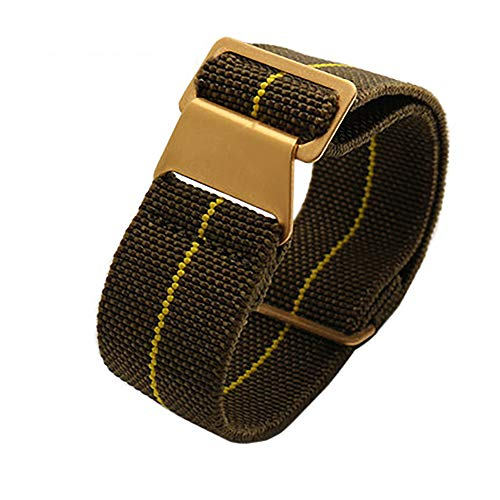 Span Realm Man's Parachute Special Elastic Nylon Band 20/22mm High-end Superior Watch Nylon Strap (Army Green-Golden Buckle, 22)