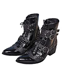 US Size 5-12 Fashion Studded Black Leather Mens Dress Zip Ankle Boots Shoes