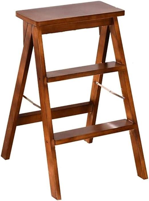 QJL_ANA Escalera Portátil Taburete, Silla Plegable del hogar del Taburete Cubierta de Tres Pasos Taburete Escalera Plegable Escalera (Color : Brown): Amazon.es: Hogar