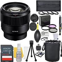 Sony FE 85mm f/1.8 Full Frame E-Mount Prime Lens + Deluxe Lens Bundle