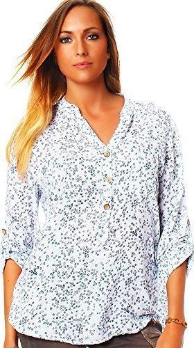 Moda Italia Fine Rayón Blusa Camisa Blusa de Manga Larga para Pesca Ligera Camiseta de Sleeve