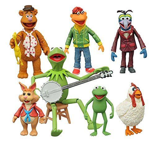 The Muppets Fozzie, Scooter, Gonzo, Camilla, Kermit, Robin, Bean Bunny Action Figures Set of 7 by The Muppets by The Muppets