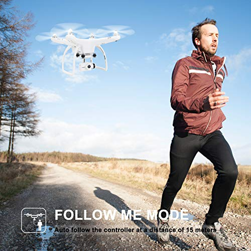 UPAIR One Plus Drone with HD 2.7K Camera & APP Transmit Live Video, Quadcopter Drone with Follow Me/GPS Position Hold/Altitude Hold/One Key Return, Easy Drones for Beginners