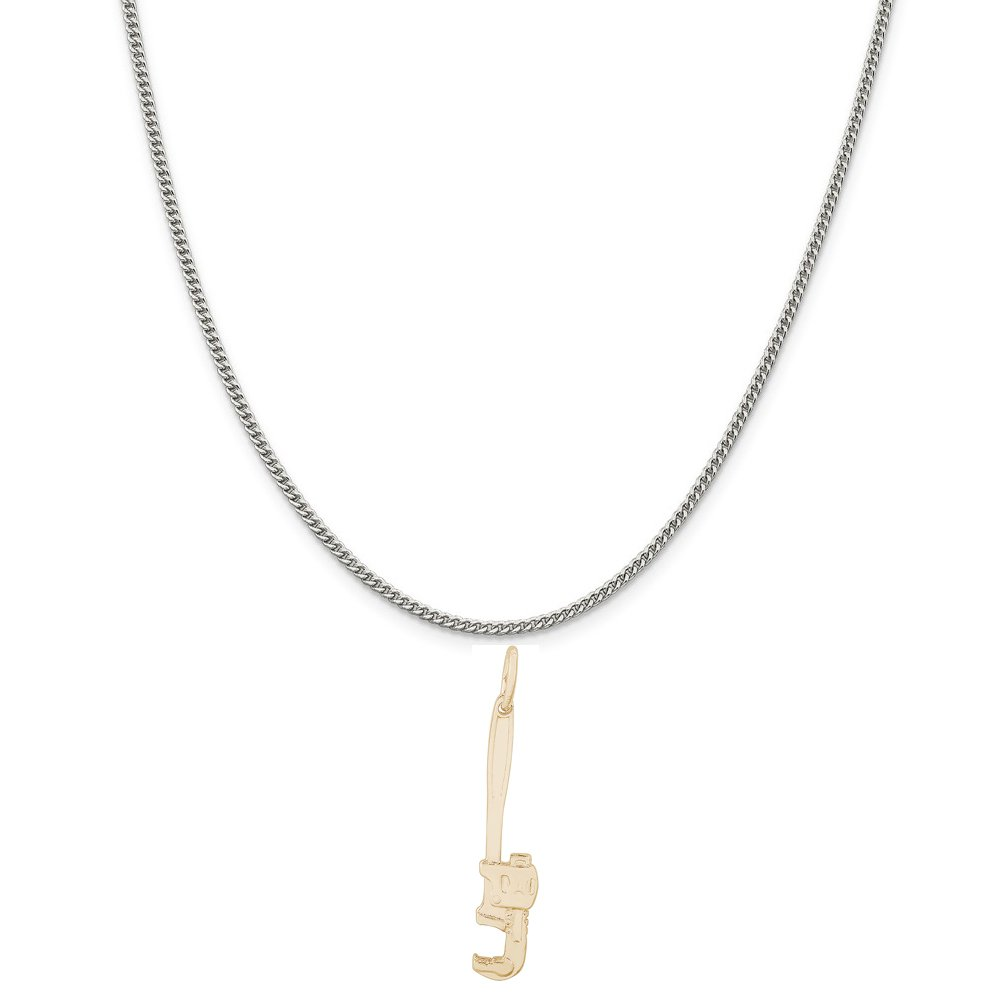 Rembrandt Charms Two-Tone Sterling Silver Pipe Wrench Charm on a Sterling Silver 16 18 or 20 inch Rope Box or Curb Chain Necklace