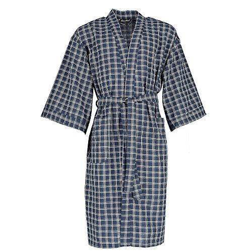 (Leisureland Men's Plaid Broadcloth Robe, Blue)