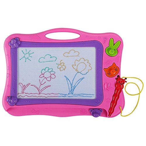 Aweoods Magnetic Drawing Board Doodle Sketch Writing Learning Toys for Kids Gift with 2 Stamps and 1 Pen (Pink)