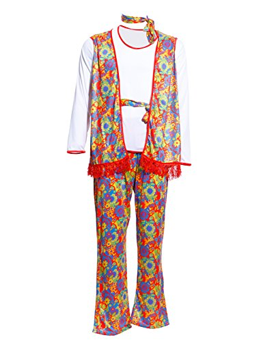 Fashoutlet Mens 60s 70s Hippy Man Peace Groovy Woodstock Fancy Dress Costume (Peace Costumes)
