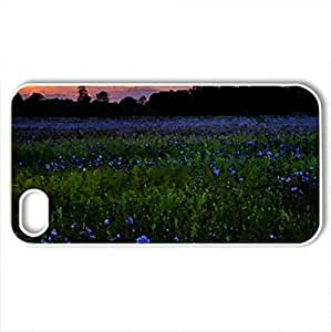 Blue Flowers - Case Cover for iPhone 4 and 4s (Flowers Series, Watercolor style, White)