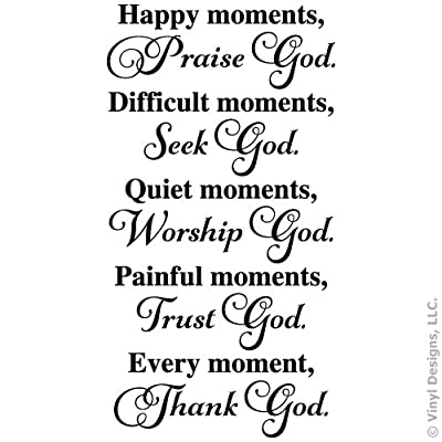 Happy Moments, Praise God, Seek, Worship, Trust, Quote Vinyl Wall Decal Sticker Art, Removable Words Home Decor