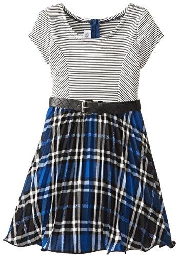 Bonnie Jean Little Girls' Stripe Knit To Royal Plaid Dress, Royal, 5