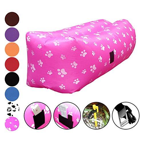 vitchelo Inflatable Lounger、ソファ、ソファ、椅子、シート& Airバッグ。リップストップLazyバッグ最適な用途キャンプ、ビーチ、公園。&祭400lbsまでサポート。8.2 Ftロング。ポータブル、折りたたみ式& Tear Free B06ZZ46HJB Pink Pink