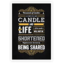 """Thousands of Candles Can Be Lighted From a Single Candle.... Buddha's Inspirational and Motivational Quotes Poster in A3 (16.5"""" X 11.7"""")"""