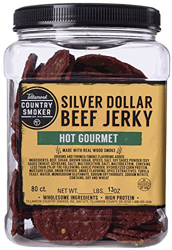 Tillamook Country Smoker - SILVER DOLLAR 80-Count 13 Ounces - HOT GOURMET (Jerky Soy Peppered)