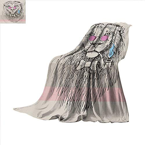 Animal Super Soft Lightweight Blanket Magestic Lion Head Hipster Style Glasses Pipes Sketch Print Oversized Travel Throw Cover Blanket 70 x 60 inch Beige Black Baby Blue Pale Pink