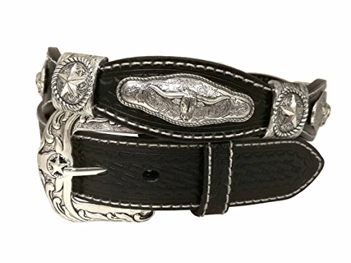 West Star Basket Weave Woven Embossed Genuine Leather Cowgirl Cowboy Small Buckle Western 1.5 Inches (Embossed Woven Belt)