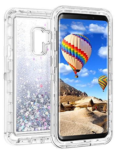 Coolden Case for Galaxy S9 Case Protective Glitter Case for Women Girls Cute Floating Liquid 3D Quicksand Heavy Duty Hard Shell Shockproof TPU Case for Samsung Galaxy S9, Silver