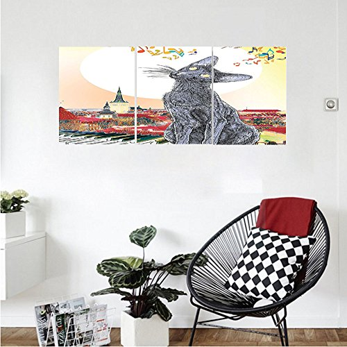 Decorative Hammered Roof Accent (Liguo88 Custom canvas Animal Decor Collection City Skyline with Moonlight and Cat Singing on Roof Music Notes and Piano in the Night Picture Bedroom Living Room Wall Hanging Multi)