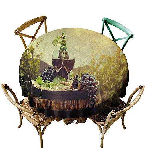 (Sunnyhome Spill-Proof Table Cover Wine Scenic Tuscany Landscape with Barrel Couple of Glasses and Ripe Grapes Growth Green Black Brown Table Cover for Kitchen Dinning Tabletop Decoratio 60 INCH)