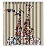 Custom Waterproof Fabric Bathroom Shower Curtain Giraffe 66'(w) x 72'(h)