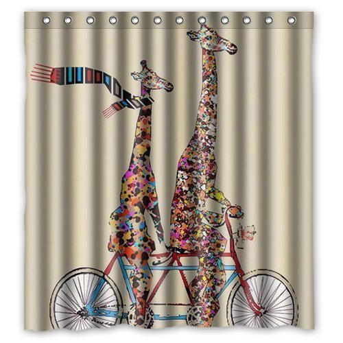 FMSHPON  Giraffe Waterproof Polyester Fabric Bathroom Shower Curtain 66 x 72 Inches