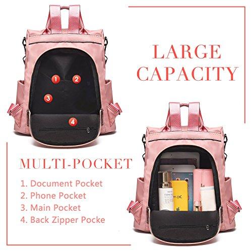 Mujeres Mochila escolares Barwell Shoulder Anti Bags Nylon Señoras robo Dayback Mochila Mochilas Impermeable Rosa HdFRFqc