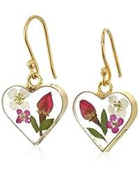 14k Gold Over Sterling Silver Pressed-Flower Heart Drop Earrings