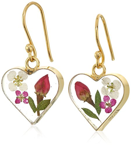 14k Gold Over Sterling Silver Pressed-Flower Heart Drop Earrings