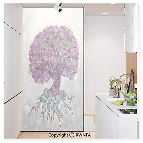 (Non-Adhesive Privacy Window Film Door Sticker Watercolors Style Print of Old Plant with Bokeh Lights Majestic Roots Nature Glass Film 23.6 in. by 78.7in. (60cm by 200cm),Grey Purple )