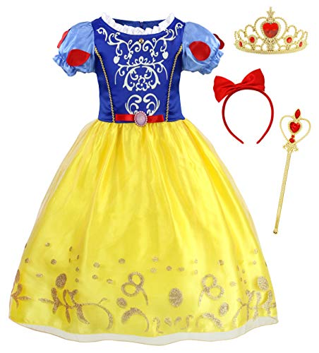 HenzWorld Snow White Dress for Girls Kids Birthday Party Costume Halloween Puff Sleeve Outfit with Headband Accessories 4T 3-4 Years -