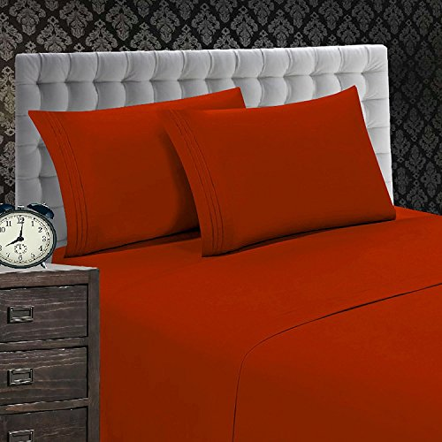 Elegant Comfort 1500 Thread Count Luxury Egyptian Quality Wrinkle and Fade Resistant 4-Piece Sheet Set, Queen, Rust