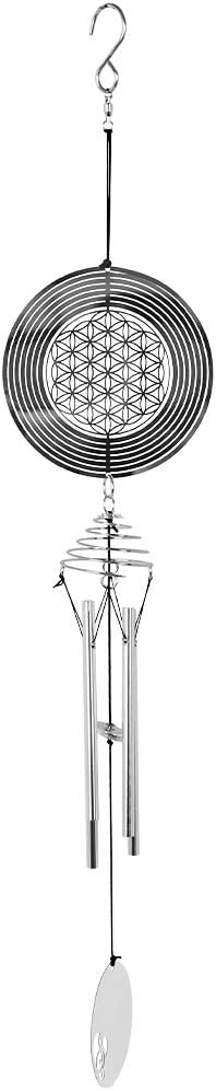 KISSTAKER Spiral Wind Spinner Chimes,3D Stainless Steel Indoor Outdoor Garden Decor,Weather Proof Pation Yard Optical Illusion Spinner Hanging Decoration (ArtFlowerofLife)