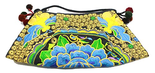 Mootumbon Hill Tribe Handmade Crossbody Bag Hmong Bag Embroidered Thai Handbag (Style 7)