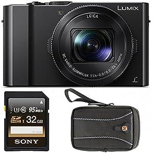 """Panasonic LUMIX DMC-LX10K Camera, 20.1 Megapixel 1"""" Sensor w/ Swiss Gear Case + 32GB 95MB/s SDHC Card"""