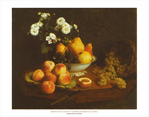 Buyartforless Flowers And Fruit On A Table by Henri Fantin-Latour 22x28 Art Print Poster Famous Painting Still Life Floral Fruit Bowl