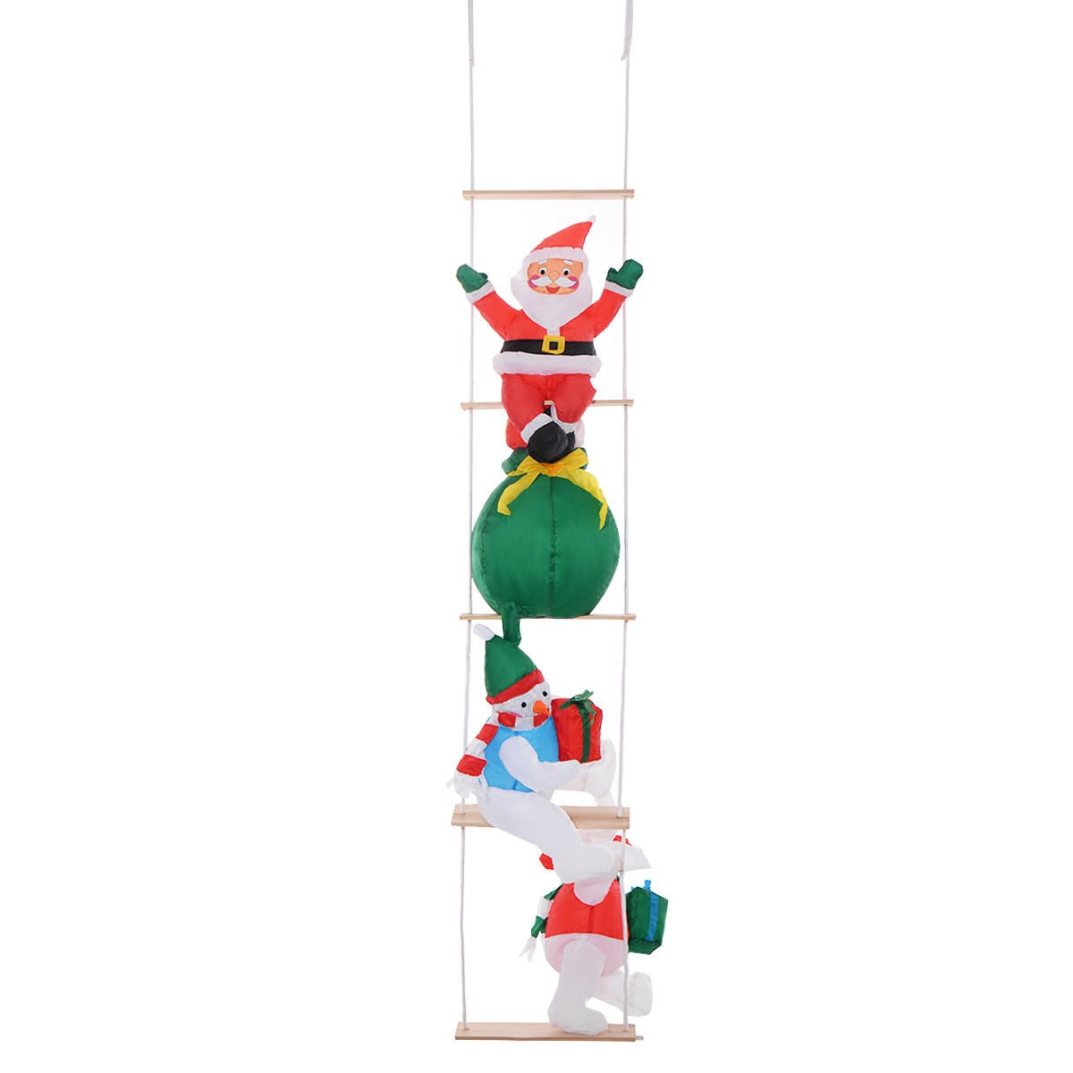8 Ft Airblown Inflatable Christmas Xmas Santa Ladder Decor Lighted Lawn Present Xmas Decoration