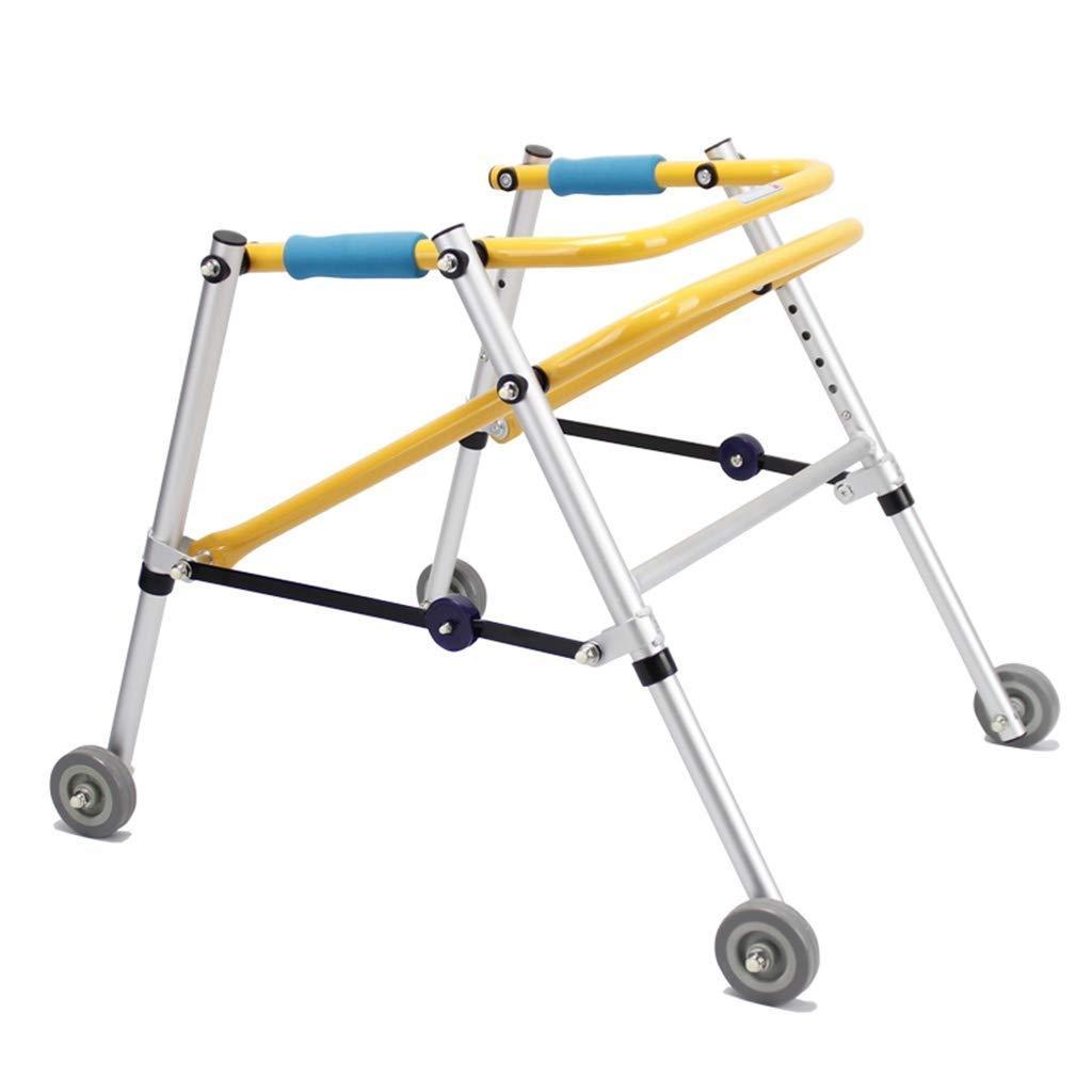 Walking Frames ,Childrens Walker Rollator Lightweight Assist 4-Legged Sticks Folding Carts Four Wheels Height Adjustable Yellow Mobile Convenience Car