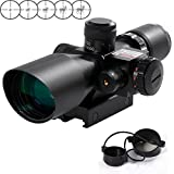 RioRand 2.5-10x40 Tactical Rifle Scope Red & Green Sight Dual Illuminated Mil-dot with Rail Mount