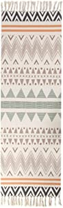 Area Rug Cotton Printed with Tassel,Washable Hand Woven Carpet Decorative Throw Rugs for Living Laundry Room Bedroom Entryway-f 60x180cm(24x71inch)
