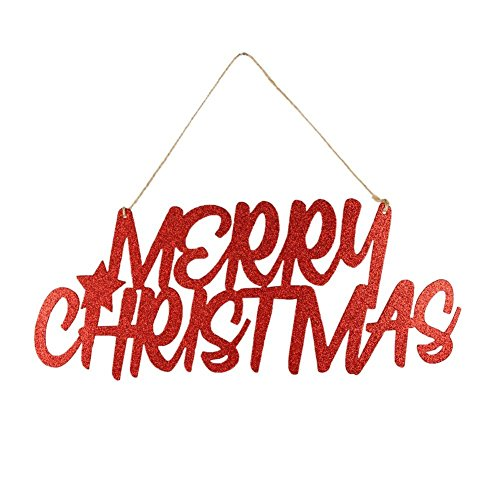 - PAPER JAZZ Red Glitter Merry Christmas Paper Door Hanger Xmas Party Wall Hanging Decoration (RED GLITTER)