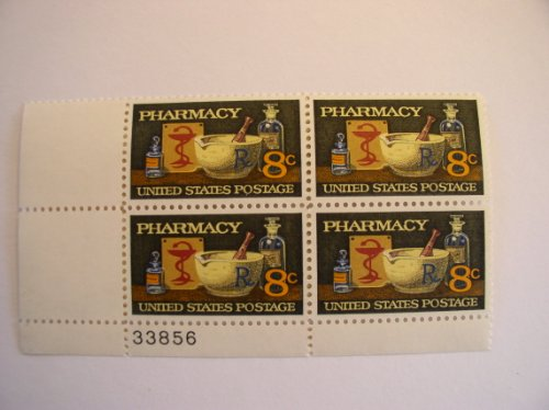 Stamp Plate Block (US Postal Stamps, 1972, Pharmacy, S# 1473, Plate Block of 4, MNH)