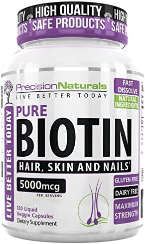 Biotin 5000 mcg for Hair Growth Skin and Nails Formula Maximum Strength Liquid Capsules - Longer, Healthier and Stronger Hair and Nails 120 Veggie Capsules