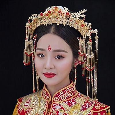 MDRW-Accessoires De Cheveux De Mariée En Épingle À Cheveux/Mariage/fête/femme le chinois coiffure un dragon phoenix coronet tassel golden comme la couronne