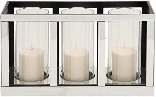 Deco 79 87239 Wood Mirror Candle Holder