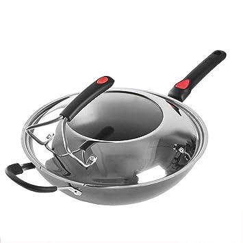 SKYyao Sarten acero inoxidable,Ninguna olla para freír sin recubrimiento de óxido de cocinar con suplementación de hierro saludable 32CM: Amazon.es: Hogar