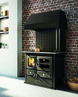 Cocina económica a leña negra con campana – Cocina de leña con puerta Fuego de fundido, cristal Focolare Ceramico,…