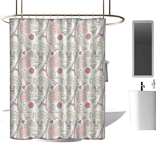 - Paris Shower Curtain Customized French Pop Culture Lovers in Streets Bonjour Je Taime Flower Pastel Life Image Satin Fabric Bathroom Washable Dried Rose Cream