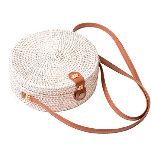 Straw Crossbody Bag, Vintage Handwoven Round Ata Rattan Shoulder Bag Straw Purse with Bow Clasp (White (Interlocking Clasp)) ()